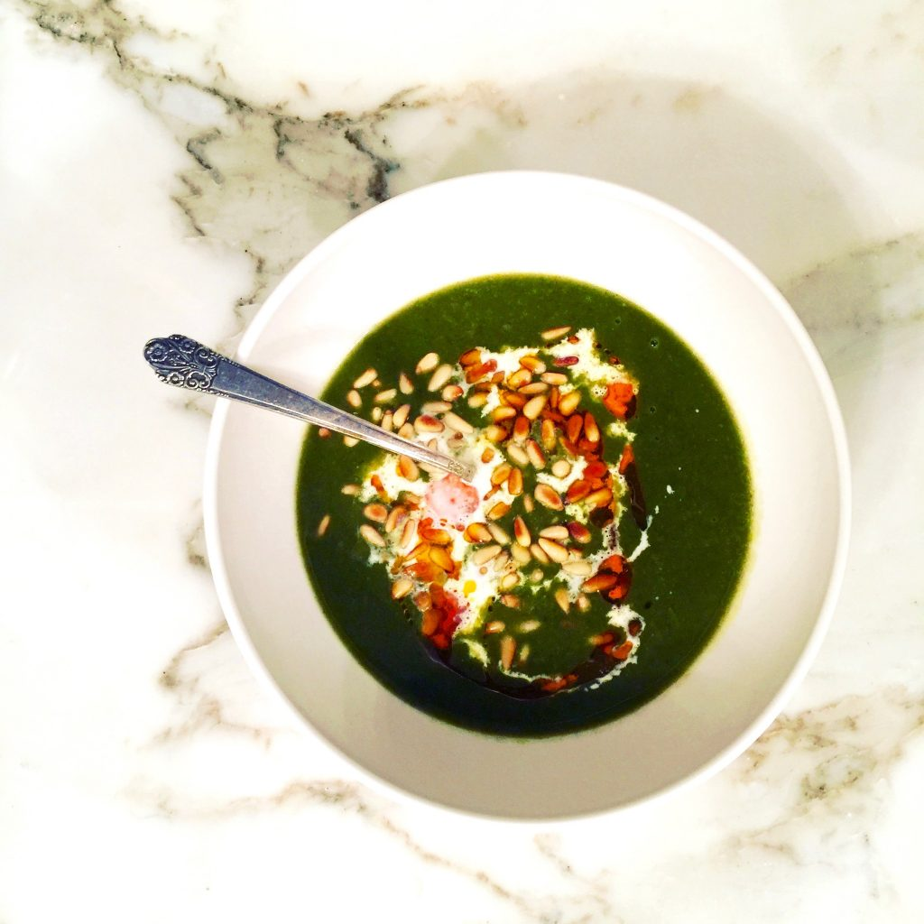 Green Soup - Spinach, Zucchini, Potato with Pine Nuts, Crema, Chili Oil