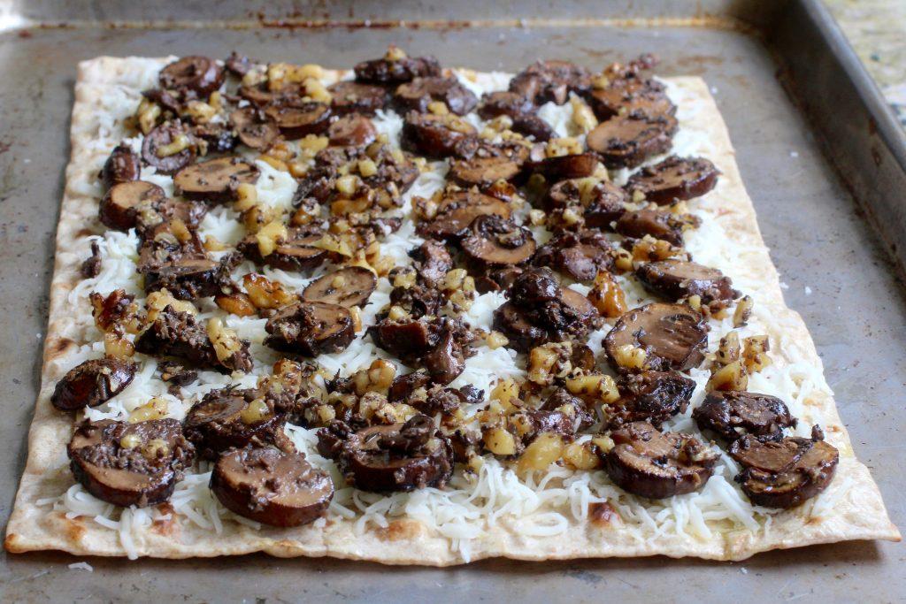 Earthy Flatbread Pizza - Mushroom, Walnut, Black Truffle Sauce
