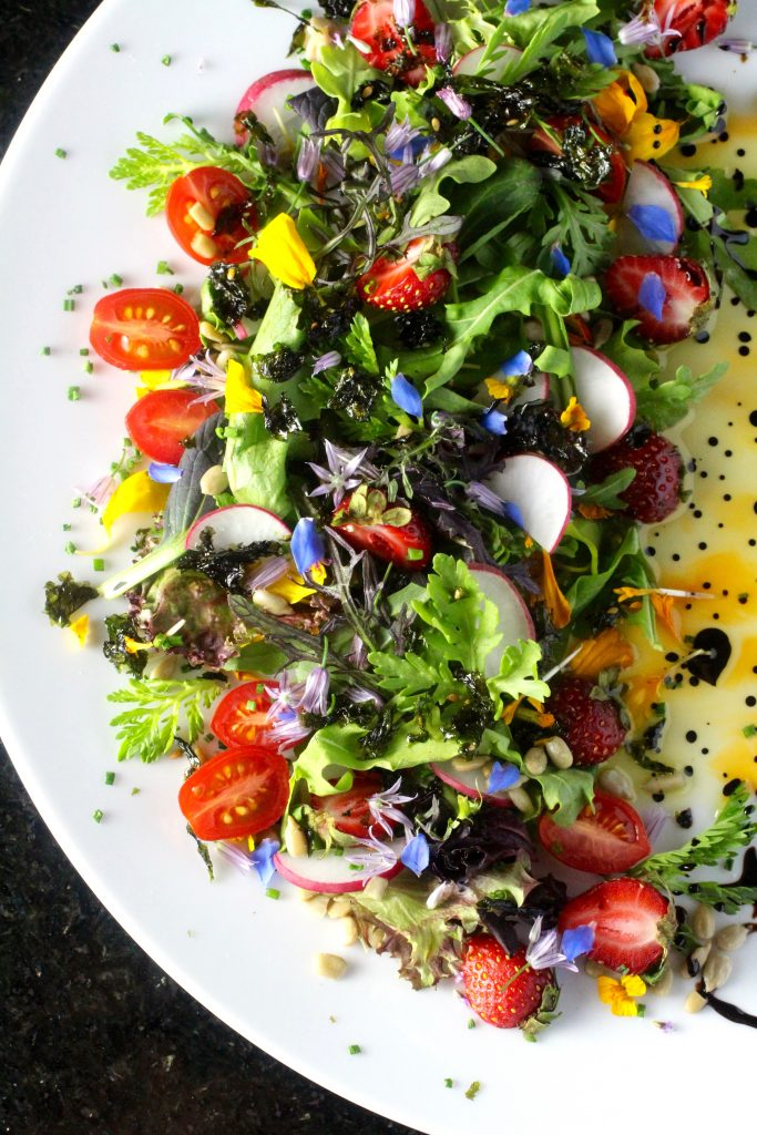 Edible Flower Salad with Wild Strawberries and Grape Tomatoes
