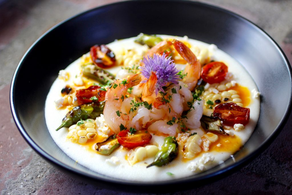 Shrimp and Grits with Lemony Lobster Butter and Grilled Corn, Okra, Tomato, Shishito