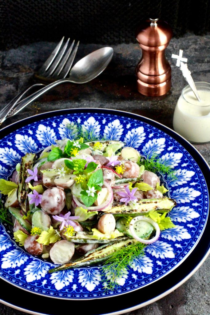 Pretty Petite Potato Salad, Vinagre de Jerez Dressing with Grilled Okra, Celery, Peperoncini, Radish, Cucumber, Red Onion, Herbs and Edible Flowers