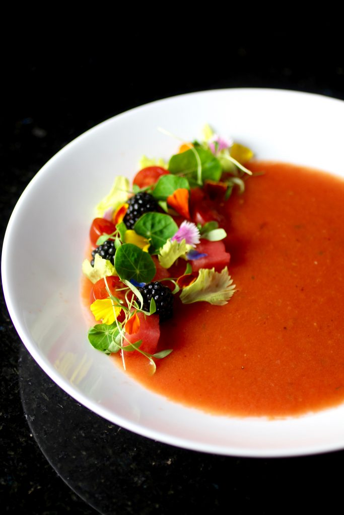 Pretty Watermelon Gazpacho with Blackberries, Tomatoes, Edible Flowers
