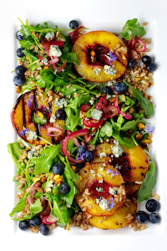 Grilled Peach Salad, Maple Bourbon Dressing