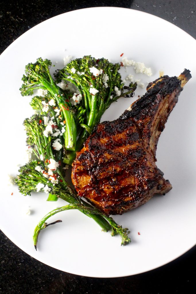 Grilled Veal Chops and Baby Broccoli