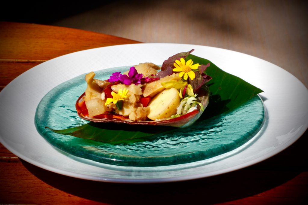"Braised Cayucos Abalone ""Escabeche"" Chorizo Pamplona, Our Garden's Sofrito"