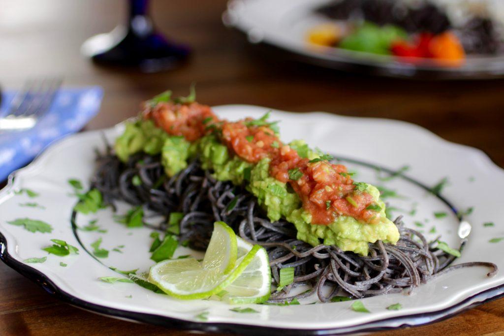 Black Bean Spaghetti Caterpillar with Fresh Tomato Salsa, Avocado, Cilantro, Lime