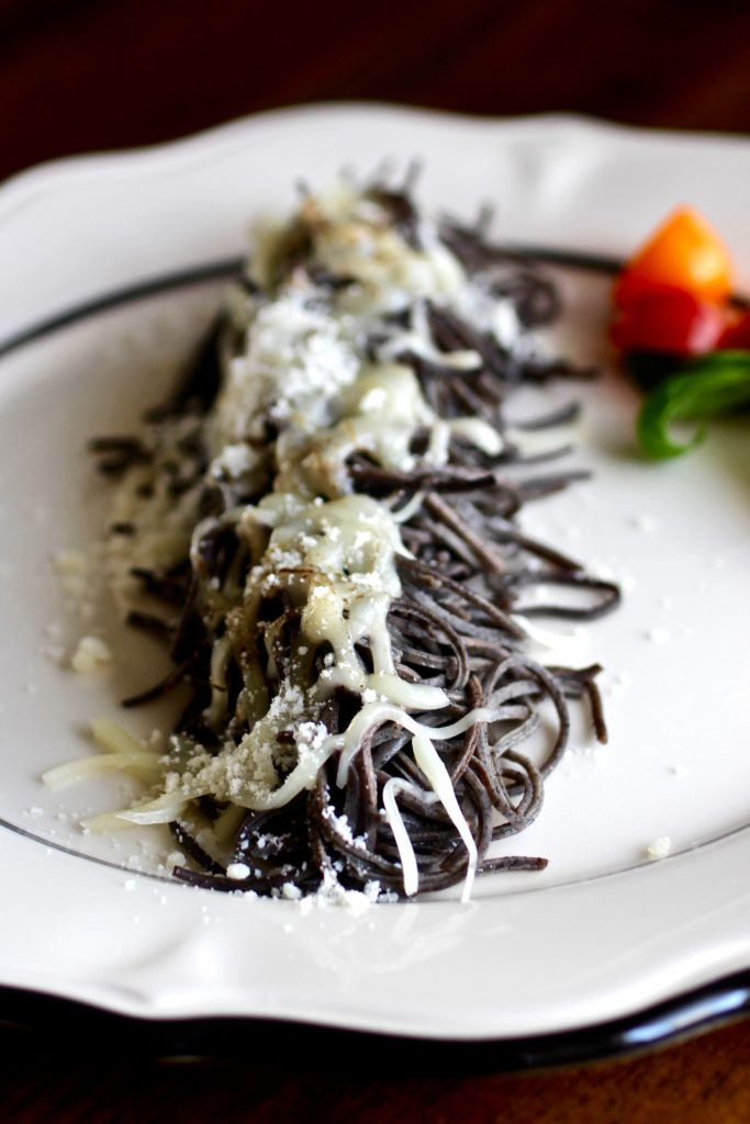 Cheesy Black Bean Spaghetti Caterpillar For Kids
