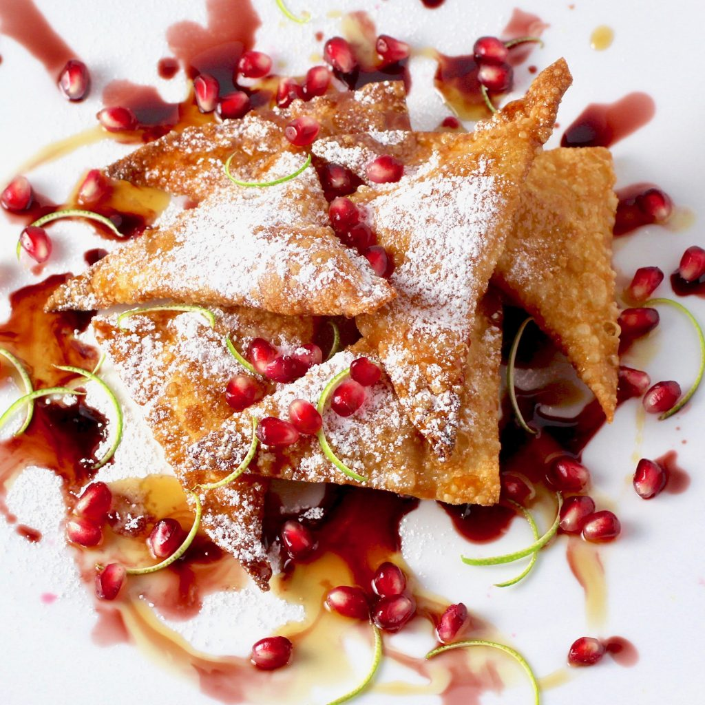 Pumpkin Ricotta Wontons, Maple, Pomegranate, Lime