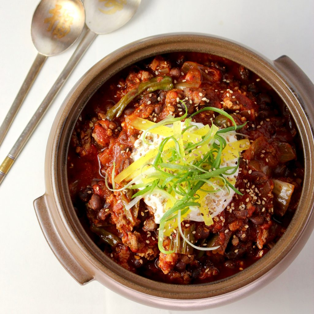 Korean Chili con Carne with Red Beans and Kimchi