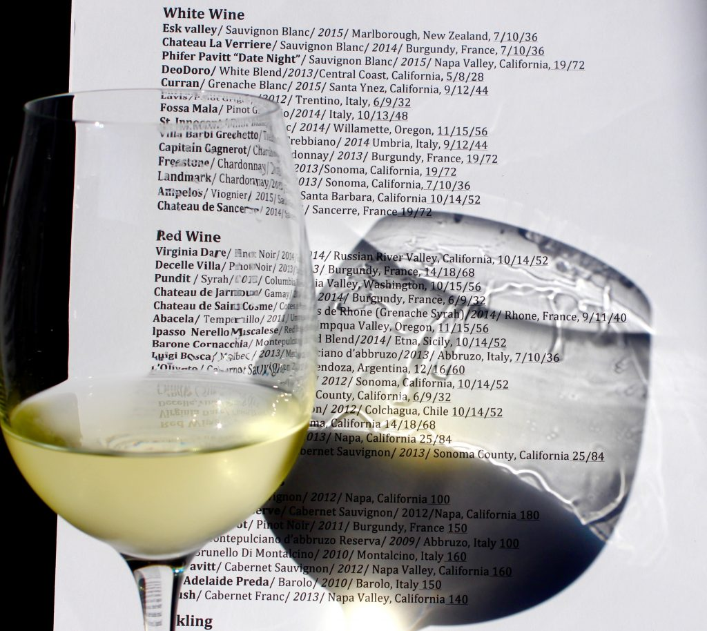 Eclectic Wine List
