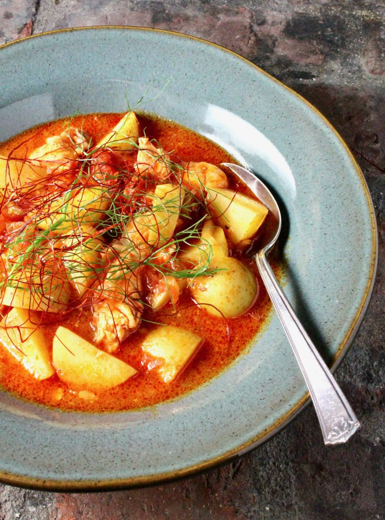 Smoky Salmon Stew with Tomato, Potato, and Fennel