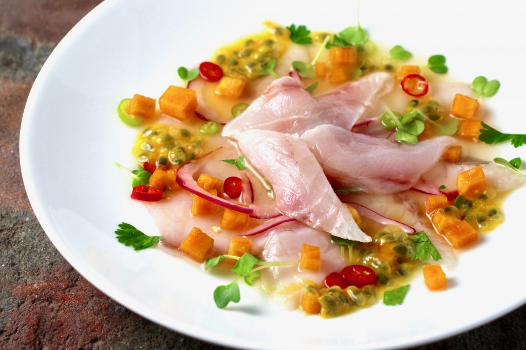 ~Striped Bass Ceviche~ Lime, Passion Fruit, Persimmon, Red Onion, Chile, Cilantro, Radish Sprouts