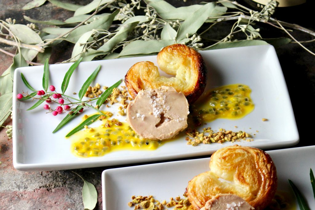 Foie Gras with Sweet & Salty Palmier Cookies, Passionfruit, Pistachios