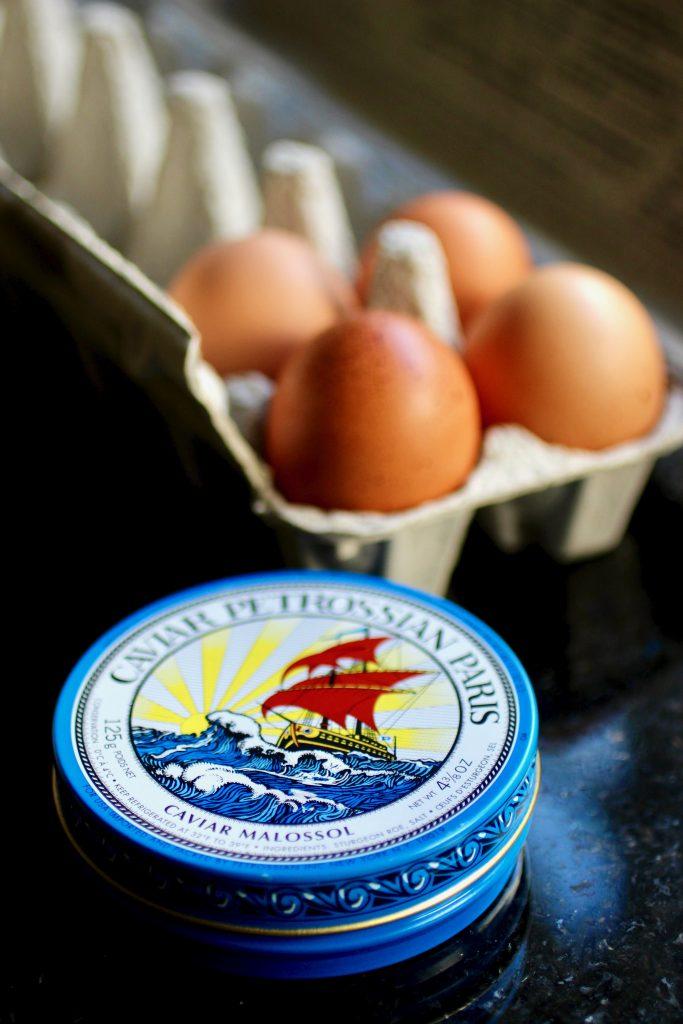 Holiday Breakfast: Scrambled Eggs, Caviar, Crème Fraîche