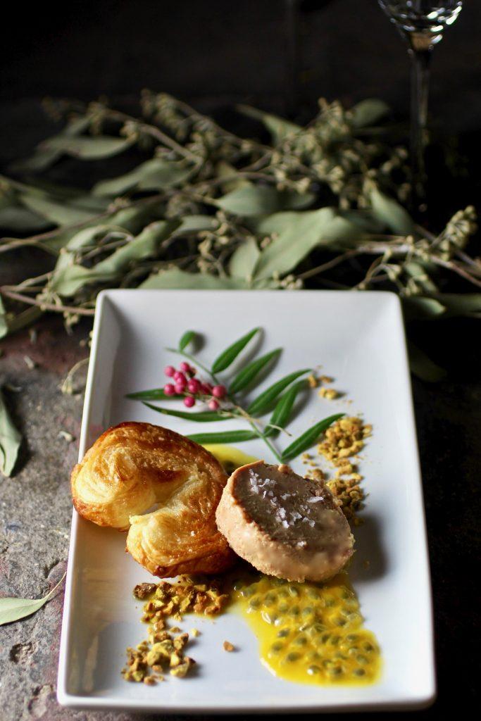 Foie Gras with Sweet & Salty Palmier Cookies, Passionfruit, Pistachios