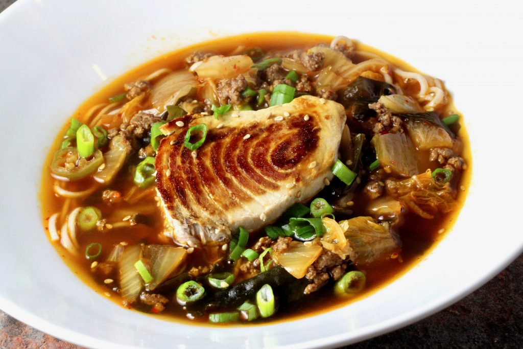 Sour and Spicy Kimchi Soup with Soba and Swordfish
