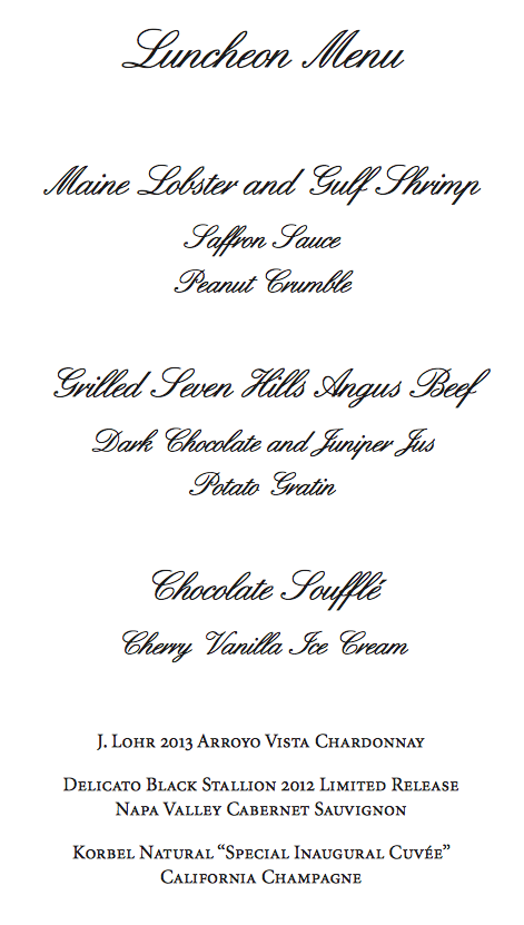 Inaugural Luncheon Menu