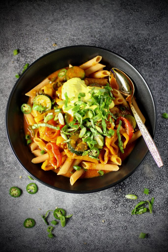Red Lentil Penne, Coconut Red Curry, Turmeric Yogurt #glutenfree