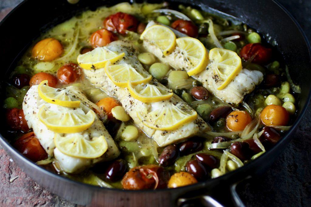 Lemony Alaskan Cod, Heirloom Fordhook Lima Beans, Olives, Tomatoes