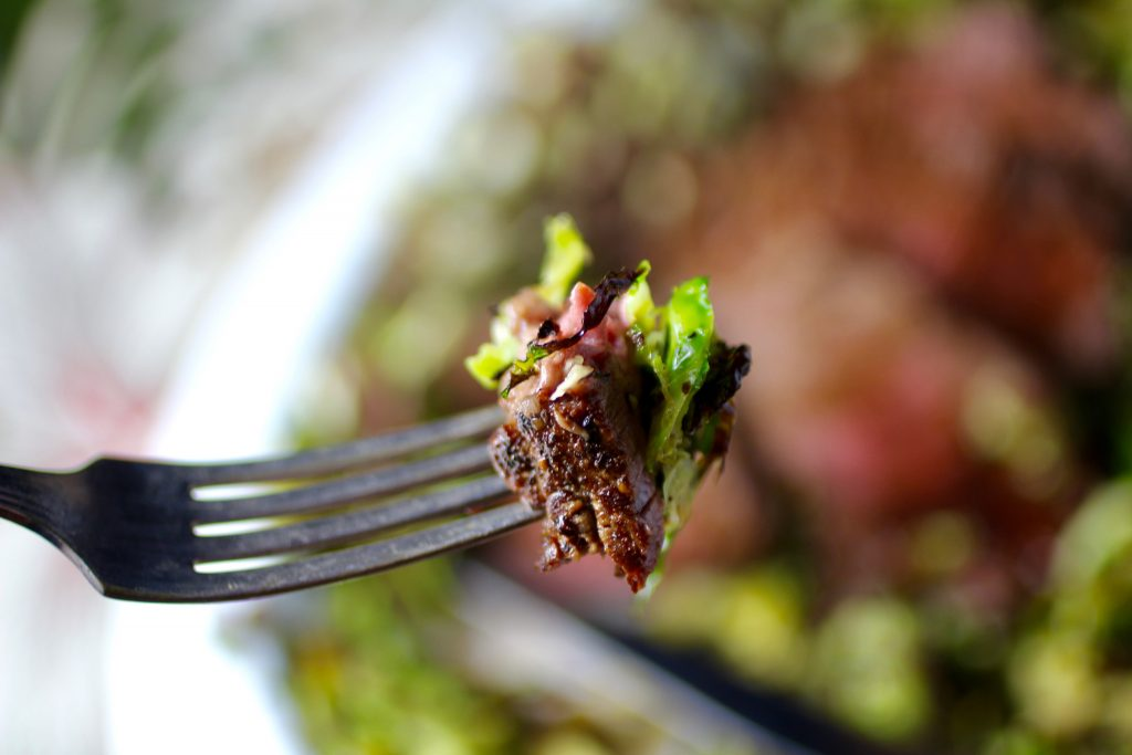 Filet Mignon and Shaved Brussels Sprouts