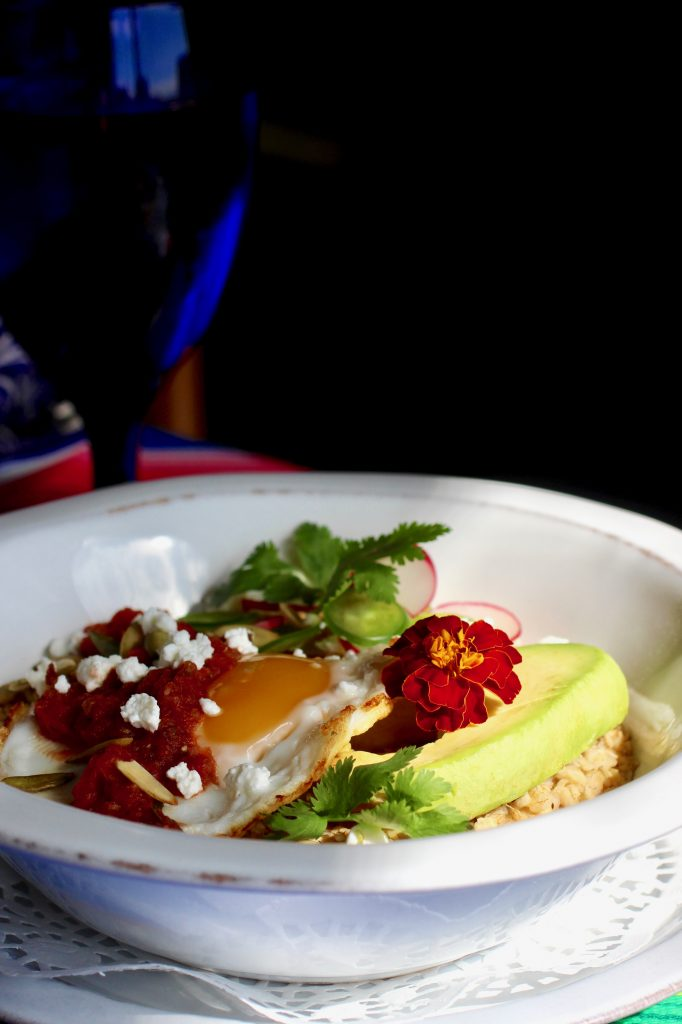 Sunnyside Oatmeal Breakfast Bowl with Avocado, Salsa Roja, Feta
