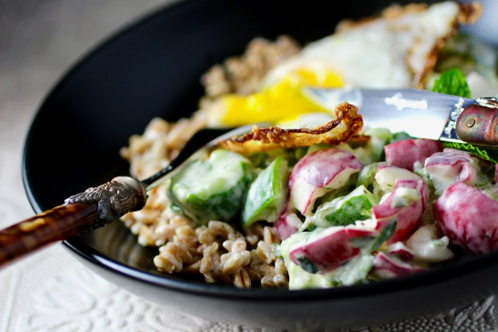 Bowl Crazy: Farro, Cucumber, Radish, Fried Egg, Yogurt Sauce