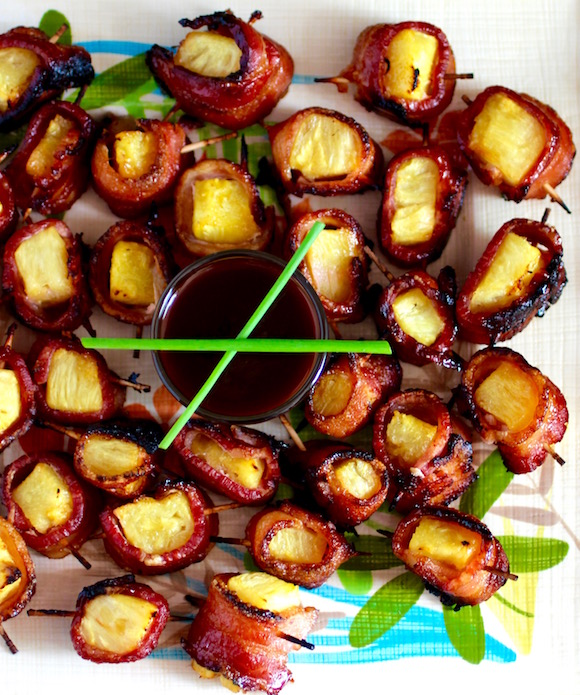 Bacon Wrapped Pineapple Appetizer Hawaiian BBQ Sauce