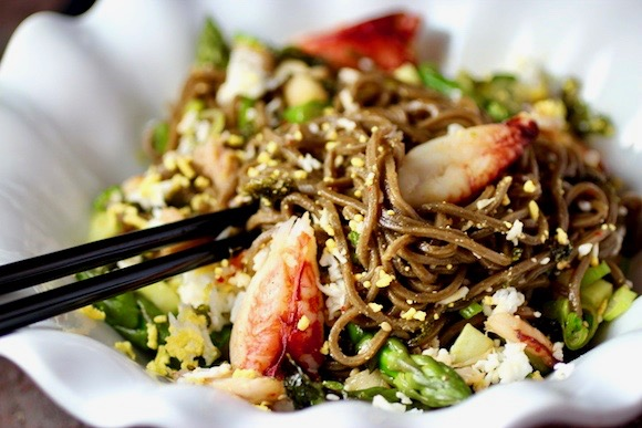 Korean Mixed Cold Noodles with Crab & Asparagus (Bibim Naengmyeon)