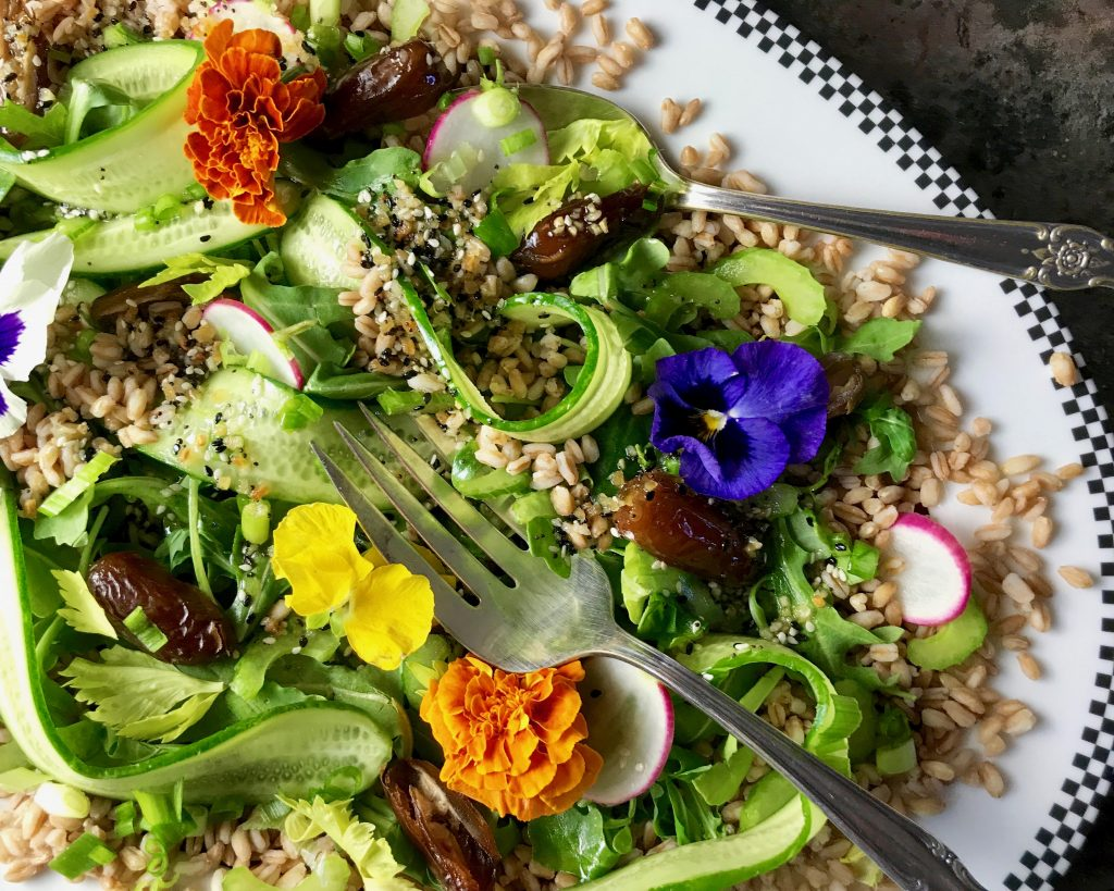 Everything But The Bagel Vinaigrette, Farro Cucumber Date Salad
