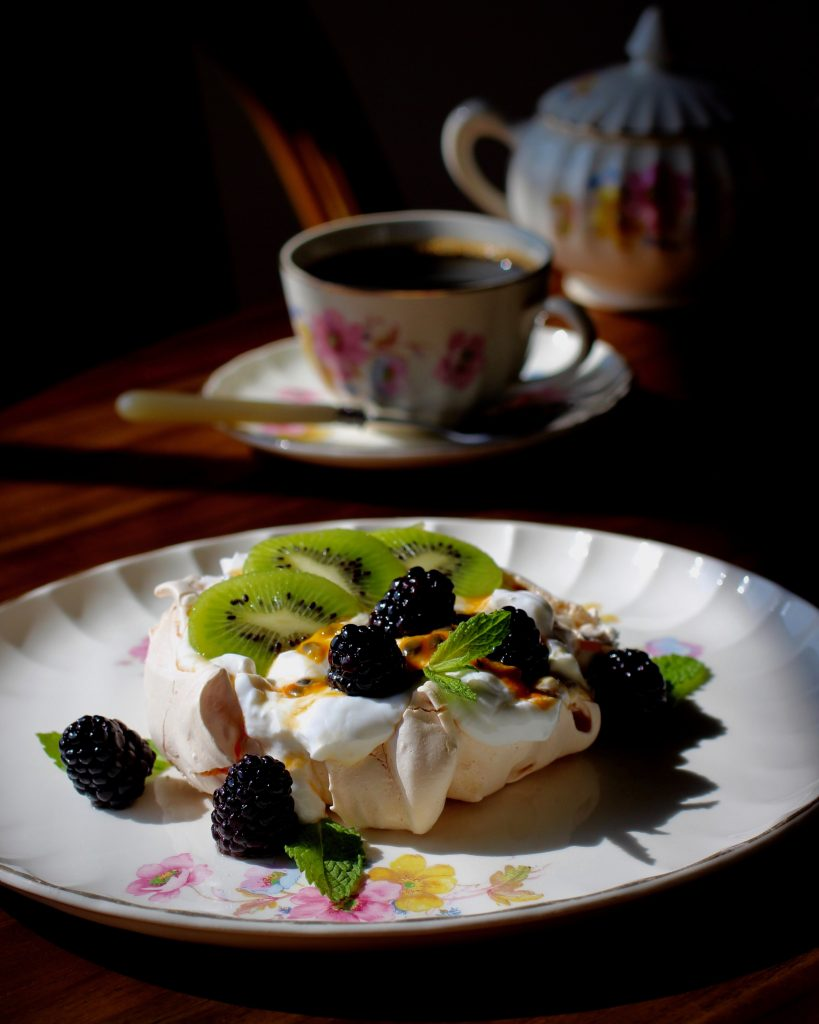Pavlova Dessert and Coffee