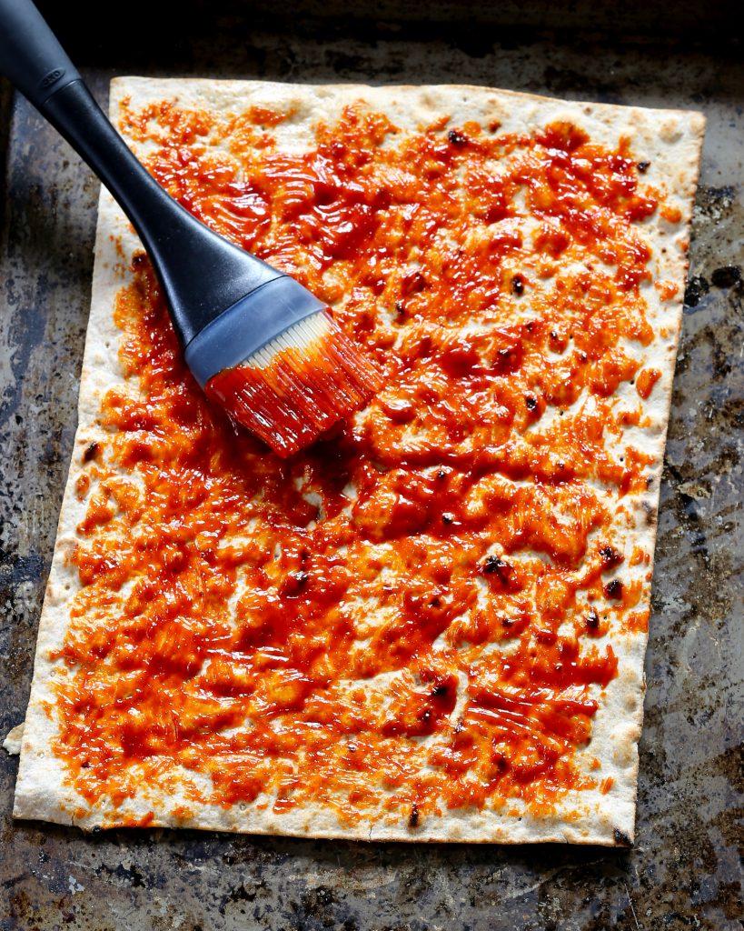 Kimchi Flatbread with Fresh Mozzarella Gochujang Sauce