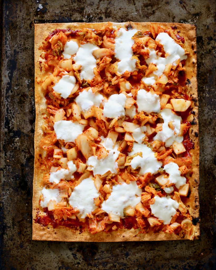 Kimchi Flatbread with Fresh Mozzarella - Gochujang Sauce, Scallion Curls, Roasted Seaweed