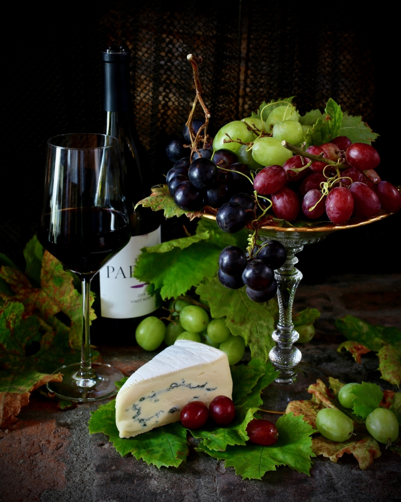 Grapes with Wine and Cheese