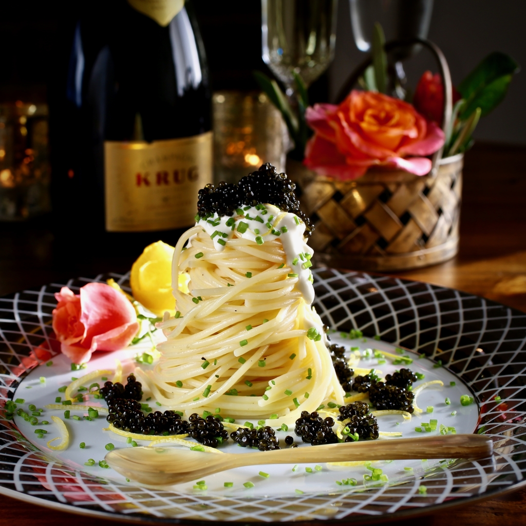 Lemon Butter Spaghetti Tower with Caviar, Creme Fraiche, Chives